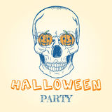 Halloween doodle - skull and pumpkins. Vector poster greeting card for Halloween. Vintage hand drawn illustration. Decorated with human skull and lettering Stock Photos