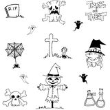 Halloween doodle vector scarecrow, zombie, witch Stock Photo