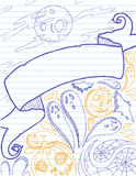 Halloween Doodles 2. Hand drawn Halloween images on lined paper Stock Photo