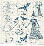 Halloween doodles. Hand drawn on a scrap of paper vector illustration