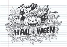 Halloween doodles of Cute hand-drawn. On lined notebook paper.-  illustration Royalty Free Stock Photo