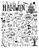 Halloween doodles elements. vector illustration. Stock Image