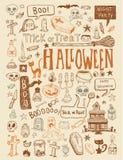 Halloween doodles elements. vector illustration. Royalty Free Stock Photo