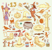 Halloween doodles elements. vector illustration Stock Photos