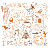 Halloween doodles elements. vector illustration Royalty Free Stock Photography