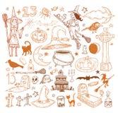 Halloween doodles elements. vector illustration Royalty Free Stock Photography