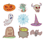 Halloween doodles elements. vector illustration. Stock Photos