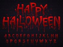 Halloween-doopvont De brieven van het verschrikkingsalfabet geschreven bloed, enge aftapdoopvont of natte bloedige teken geïsolee vector illustratie
