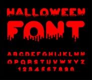 Halloween-Doopvontbloed Rode vloeibare brief Vreselijk alfabet Horr royalty-vrije illustratie