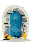 Halloween door. Cartoon Halloween door, vector illustration Royalty Free Stock Photography