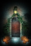 Halloween door at night Stock Image