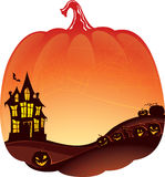 Halloween Double Exposure background with haunted house Stock Photo