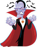 Halloween Dracula. Halloween background with ugly vampire Stock Images