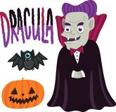 Halloween Dracula character with pumpkin and bat. Stock Images