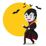 Halloween Dracula. Cute Halloween cartoon character / Dracula with bats Stock Photos