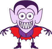 Halloween Dracula, der beim Glauben verwirrt grinst Lizenzfreie Stockfotos