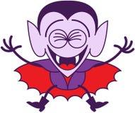Halloween Dracula die uit vreugde springen Stock Afbeeldingen