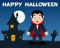 Halloween Dracula and Haunted House Royalty Free Stock Photos