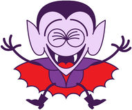 Halloween Dracula jumping out of joy Stock Images