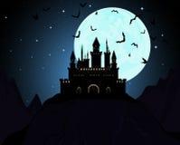 Halloween Draculas castle. Vector illustration Stock Photo