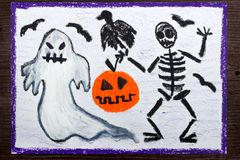 Drawing: Bad ghost, skeleton, pumpkin and raven. Halloween drawing: Bad ghost, skeleton, pumpkin and raven royalty free stock images