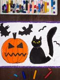 Drawing: Black cat, bad pumpkin and flying bats. Halloween drawing: Black cat, bad pumpkin and flying bats royalty free stock photos