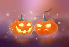 Halloween. Drawing glowing pumpkins halloween holiday Stock Images
