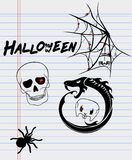 Halloween drawings on a sheet of paper Royalty Free Stock Photography