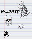Halloween drawings on a sheet of paper royalty free stock photo
