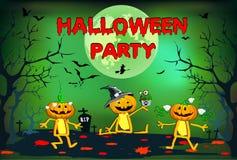 Halloween, drie grappige pompoenen, children& x27; s illustratie op een groene achtergrond Stock Afbeeldingen