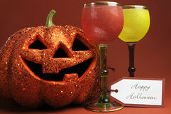 Halloween drinks with vintage gothic style goblets Stock Image