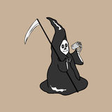 Halloween-duivels slimme telefoon Stock Foto