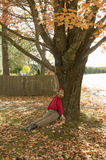 Halloween dummy lynched from autumn colored tree in Acadia National Park, Maine Stock Image