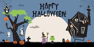 Halloween e casa frequentata D illustrazione vettoriale