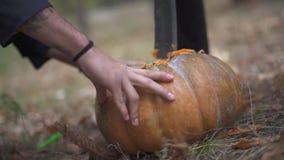 Halloween Een mens plukt een pompoen met een slagersmes stock videobeelden