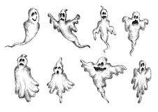 Halloween eerie and funny ghosts Royalty Free Stock Photography