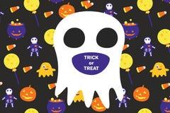 Halloween-Einladungskarte mit großem Geist und Text stockfotografie