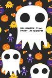 Halloween-Einladungskarte mit großem Geist und Text lizenzfreies stockbild