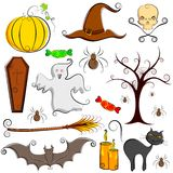 Halloween Element. Illustration of set of halloween element with pumpkin,ghost and bat Stock Image