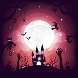 Halloween element design on full moon background with copy space, Trick or Treat Concept, vector illustration. Eps10 Royalty Free Stock Images