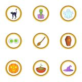 Halloween element icon set, cartoon style Stock Image