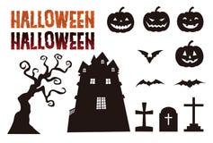 Halloween-elementen, hefboomo lantaarn, knuppel, ernstig en achtervolgd herenhuis royalty-vrije illustratie