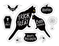 Halloween elements design, silhouettes style. Royalty Free Stock Images