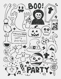 Halloween elements doodles hand drawn line icon, eps10 Royalty Free Stock Image