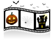 Halloween elements on the filmstrip Stock Photo