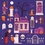Halloween Elements and Icons Collection. Halloween elements and icons set. Including trick or treat kids, cartoon vampire, old ghost house, haunted graveyard Stock Photography