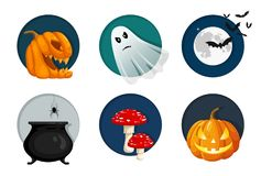 Halloween elements, objects and icon set. Cute vector illustration Stock Image