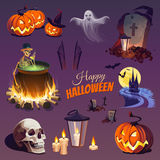 Halloween Elements and Objects. Сolorful Elements and Objects for Design Projects Stock Photography