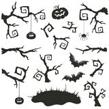 Halloween elements. Halloween objects set isolated on white background. Collection of branches and elements for Halloween party invitation design Royalty Free Stock Image