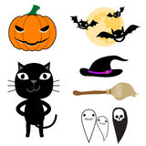Halloween elements. Set of cute Halloween elements, objects and icons for your design. Halloween icons vector illustration